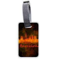 Barcelona City Dark Watercolor Skyline Luggage Tags (one Side)  by hqphoto