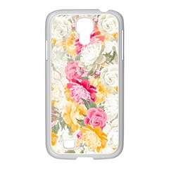 Colorful Floral Collage Samsung Galaxy S4 I9500/ I9505 Case (white)