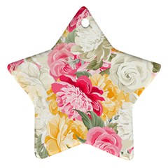 Colorful Floral Collage Ornament (Star)