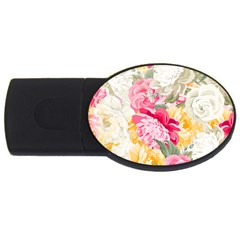 Colorful Floral Collage USB Flash Drive Oval (1 GB)