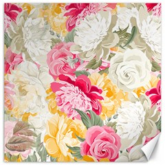 Colorful Floral Collage Canvas 12  X 12