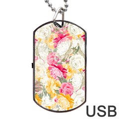 Colorful Floral Collage Dog Tag USB Flash (Two Sides)