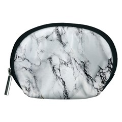 White Marble Stone Print Accessory Pouches (medium)