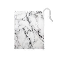 White Marble Stone Print Drawstring Pouches (medium)