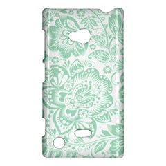 Mint Green And White Baroque Floral Pattern Nokia Lumia 720