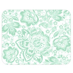 Mint Green And White Baroque Floral Pattern Double Sided Flano Blanket (medium)
