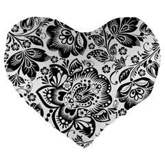 Black Floral Damasks Pattern Baroque Style Large 19  Premium Flano Heart Shape Cushions