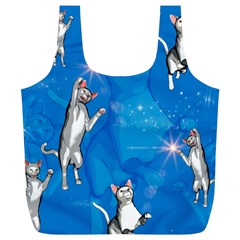 Funny, Cute Playing Cats With Stras Full Print Recycle Bags (l)  by FantasyWorld7