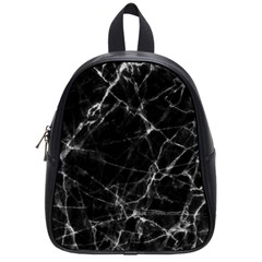 Black Marble Stone Pattern School Bags (small)  by Dushan