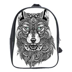 Intricate Elegant Wolf Head Illustration School Bags (xl)  by Dushan