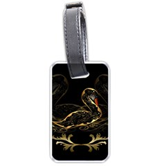 Wonderful Swan In Gold And Black With Floral Elements Luggage Tags (one Side)  by FantasyWorld7