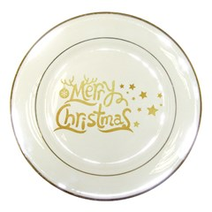 Christmas Gold2 Porcelain Display Plate by walala