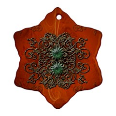 Wonderful Floral Elements On Soft Red Background Snowflake Ornament (2 Side)