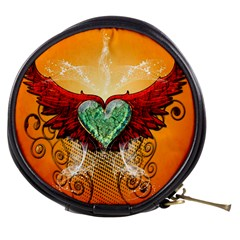 Beautiful Heart Made Of Diamond With Wings And Floral Elements Mini Makeup Bags by FantasyWorld7