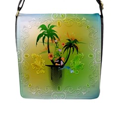 Surfing, Surfboarder With Palm And Flowers And Decorative Floral Elements Flap Messenger Bag (l)  by FantasyWorld7