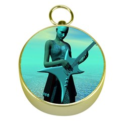 Sad Guitar Gold Compasses by icarusismartdesigns