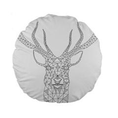 Modern Geometric Christmas Deer Illustration Standard 15  Premium Round Cushions