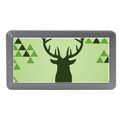 Modern Geometric Black And Green Christmas Deer Memory Card Reader (mini)