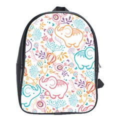 Cute Pastel Tones Elephant Pattern School Bags (xl)  by Dushan