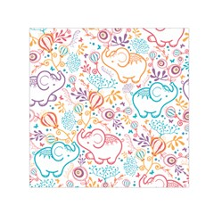 Cute Pastel Tones Elephant Pattern Small Satin Scarf (square)  by Dushan