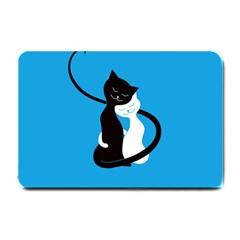 Blue Hugging Love Cats Small Doormat