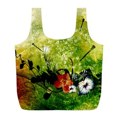 Awesome Flowers And Lleaves With Dragonflies On Red Green Background With Grunge Full Print Recycle Bags (l)  by FantasyWorld7