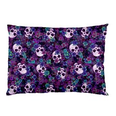 Flowers And Skulls Pillow Case (two Sides) by Ellador