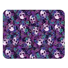 Flowers And Skulls Double Sided Flano Blanket (large) by Ellador