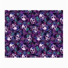 Flowers And Skulls Glasses Cloth (small, Two Sided) by Ellador