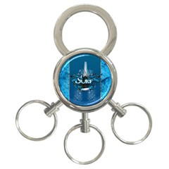 Surf, Surfboard With Water Drops On Blue Background 3 Ring Key Chains by FantasyWorld7