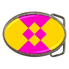 Yellow Pink Shapes Belt Buckle by LalyLauraFLM
