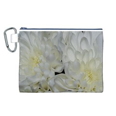 White Flowers 2 Canvas Cosmetic Bag (l) by timelessartoncanvas