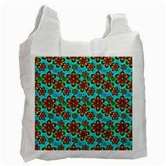 Neon Retro Flowers Aqua Recycle Bag (two Side)  by MoreColorsinLife