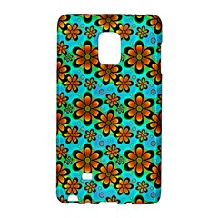 Neon Retro Flowers Aqua Galaxy Note Edge by MoreColorsinLife