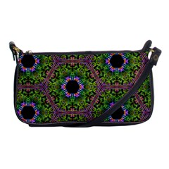 Repeated Geometric Circle Kaleidoscope Shoulder Clutch Bags by canvasngiftshop