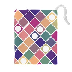 Dots And Squares Drawstring Pouches (extra Large) by Kathrinlegg