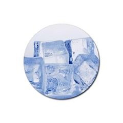 Ice Cubes Rubber Round Coaster (4 Pack)  by trendistuff