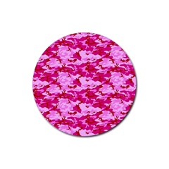Camo Pink Rubber Round Coaster (4 Pack)  by trendistuff