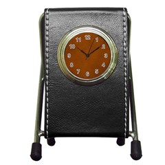 Brown Leather Pen Holder Desk Clocks by trendistuff