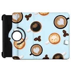 Cute Coffee Pattern On Light Blue Background Kindle Fire Hd Flip 360 Case by LovelyDesigns4U
