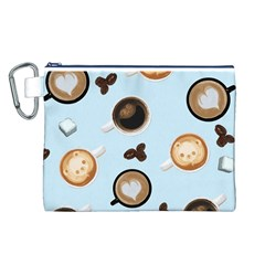Cute Coffee Pattern On Light Blue Background Canvas Cosmetic Bag (l) by LovelyDesigns4U