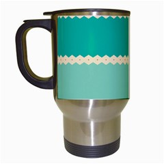 Rhombus And Retro Colors Stripes Pattern Travel Mug (white)