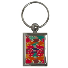 Retro Colors Distorted Shapes			key Chain (rectangle) by LalyLauraFLM