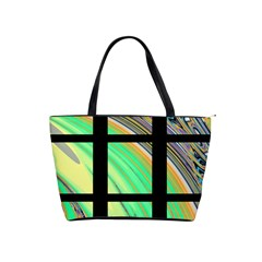 Black Window With Colorful Tiles Shoulder Handbags by digitaldivadesigns