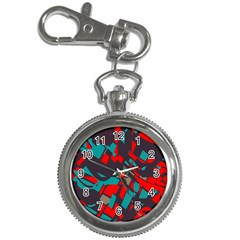 Red Blue Pieces			key Chain Watch by LalyLauraFLM