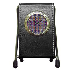 Ethnic Modern Geometric Pattern Pen Holder Desk Clocks by dflcprints