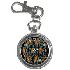 Blue Brown Texture			key Chain Watch by LalyLauraFLM