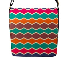 Colorful Chevrons Pattern			flap Closure Messenger Bag (l) by LalyLauraFLM