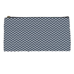 Blue And White Chevron Wavy Zigzag Stripes Pencil Cases by PaperandFrill