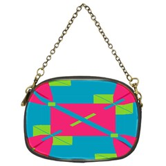 Rectangles And Diagonal Stripes 	chain Purse (two Sides) by LalyLauraFLM